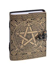 Leather Journal Black Pentagram with lock