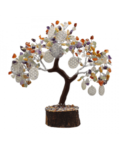 Árbol de gemas Reiki Multistone Con Flor De La Vida 300 Cuentas