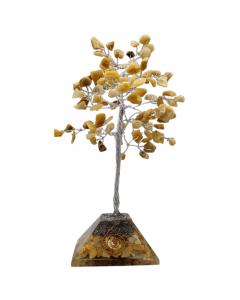 Árbol de gemas base de pirámide de cuarzo dorado 100 cuentas