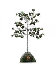 Árbol de gemas base de pirámide de orgón de jade verde 100 cuentas