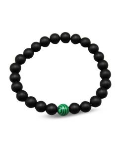 Bracelete black with green stone