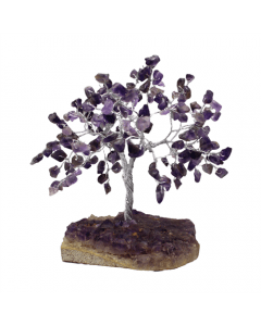 Gem Tree With Amethyst 100 Bds with Amethyst Cluster