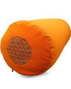 Yoga Bolster Cotton Twill - Flower of Life Orange