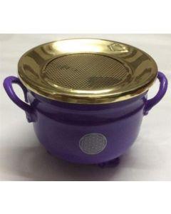 Cauldron Púrpura con diseno Flor de la Vida con Tapa Plateada 10x11cm