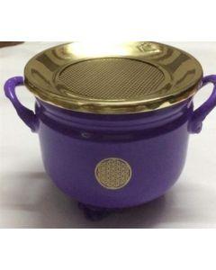 Cauldron Púrpura con diseno Flor de la Vida con Tapa de Latón 10x11cm