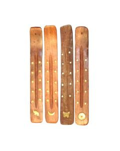 Wooden Plank Incense Holder with Brass Inlay