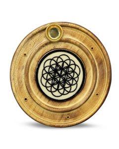 Porta incienso de madera Flor de la vida 10 cm