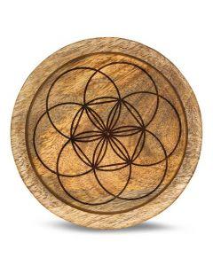 Mango Wood Crystal Grid Tray Seed of Life 15 cm