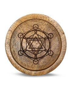 Mango Wood Crystal Grid Tray Metatron 15 cm