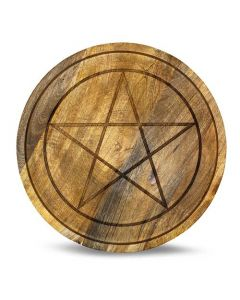 Mango Wood Crystal Grid Tray Pentagram 30 cm