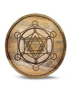 Mango Wood Crystal Grid lade Metatron 30 cm