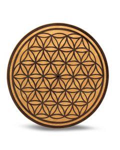 Wood Crystal Grid Tray Flower of Life 15 cm