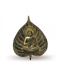 Buddha on Leaf Hanging (Gold with Black Finish)