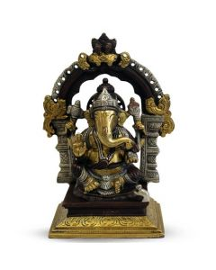 "Ganesh Sitting Yelli Ring On Sq. Base (South Brass Finish)7"""