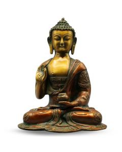 """Buddha B/Hand Asthmangal w/out Base (orang+gold finish) 10"""""""