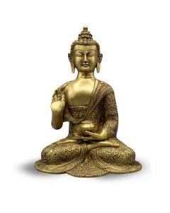Buddha Sitting Asthmangal Carved green+yellow